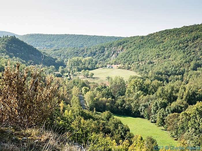 View over the River Vere valley from edge of Forest Gresigne, France, photographed by Charles Hawes