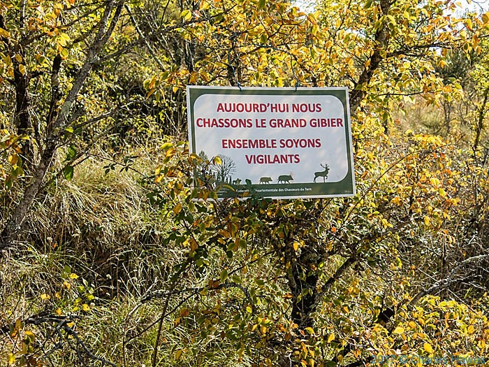Big Game hunt sign in Forest of Gresigne, France, photographed by Charles Hawes