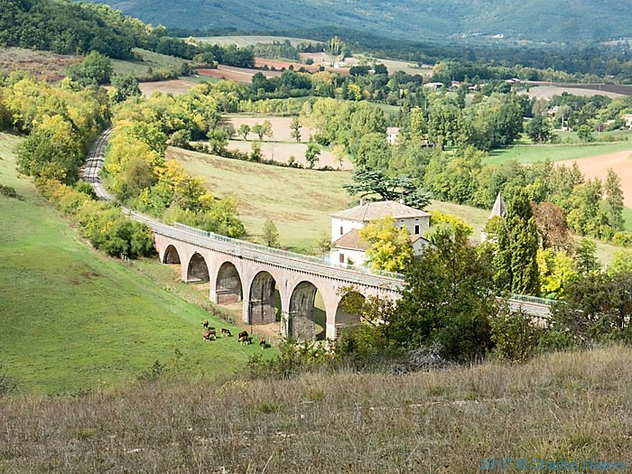 Viaduct near Cordes photographed from the GR46 in France by Charles Hawes
