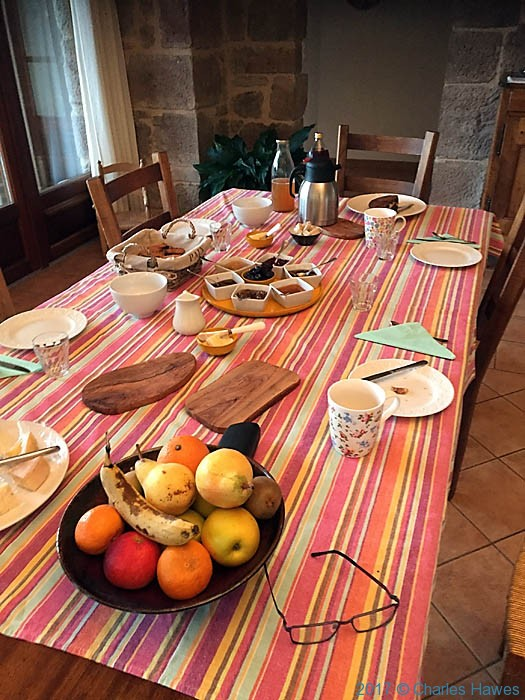Breakfast at Serene, Vaour, France, photographed by Charles Hawes