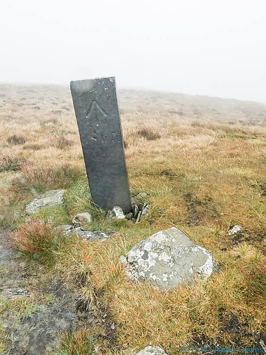 Boundary stone of William Watkins Wynn'es land on Cambrian Way, photographed by Charles Hawes