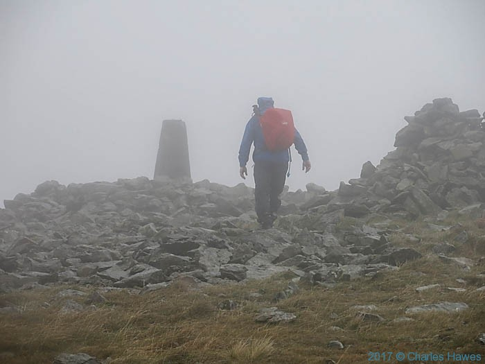 Approaching the trig point at Plynlimon, photographed from the Cambrian way by Charles Hawes