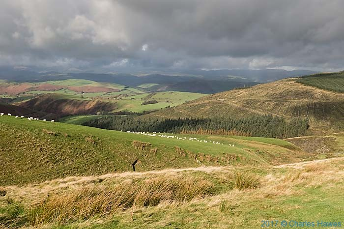 View from the Cambrain Way near Dylife, Wales, photographed by Charles Hawes