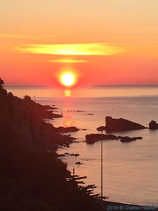 Sunrise over the Ligurian Sea at Imperia by Charles Hawes