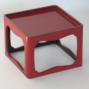 Red Lacquer Tray with Gold Trim
