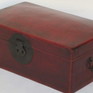 Red Leather Trunk, Zhejiang Province, China, 19th Century