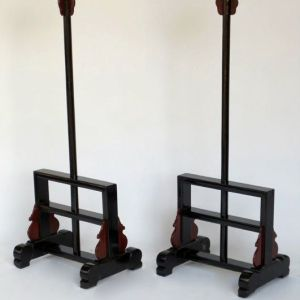 Elm Wood Lacquer Oil Lantern Stands, Shanxi Province, China, c. 1780