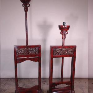Red Lacquer Oil Lantern Stands, Shanxi Province, China, c. 1880
