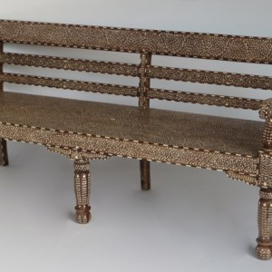 Teak and Bone Inlay Bench with Arms