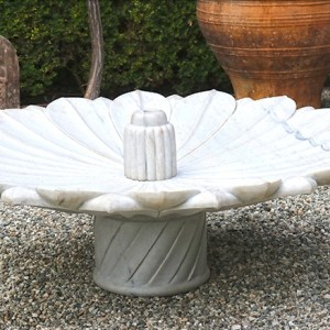Hand Carved White Marble Fountain with Reservoir