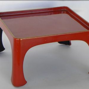 Red Lacquer Tray With Gold Trim, Japan