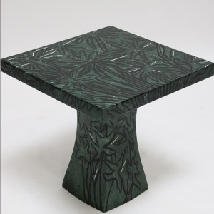 Green Marble Inlaid with Black Kadappa Madras and White Morbi Side Table