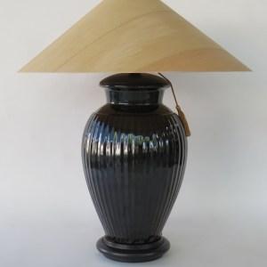 Temmoku Ribbed Table Lamp with Sugar Pine Shade