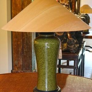 Tea Leaf Green Table Lamp with Sugar Pine Shade