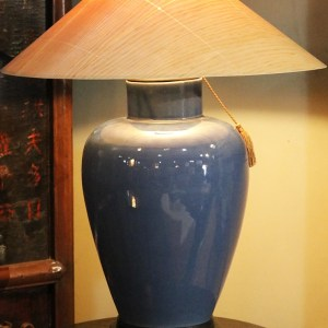Cobalt Blue Table Lamp with Sugar Pine Shade