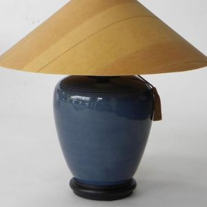Cobalt Table Lamp with Sugar Pine Shade