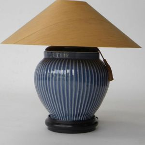 Cobalt Ribbed Table Lamp with Sugar Pine Shade