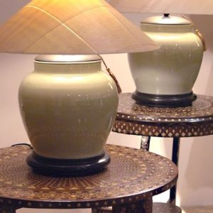 Celadon Table Lamp with Sugar Pine Shade