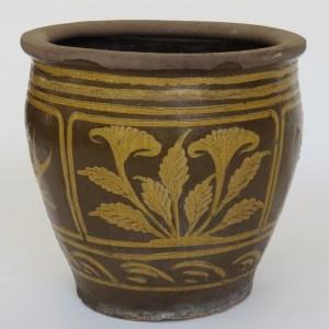 Glazed Clay Pot with Flowers