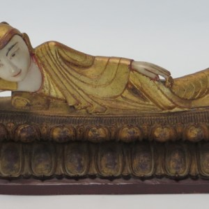 Alabaster Reclining Buddha with Wooden Base
