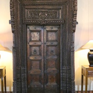 Hand Carved Wooden Frame with Doors