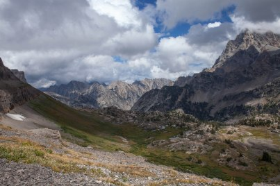 View of South Fork from Schoolroom Glacier: Grand Teton shrouded by clouds, September 4, 2013