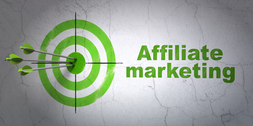 Success finance concept: arrows hitting the center of target, Green Affiliate Marketing on wall background, 3d render