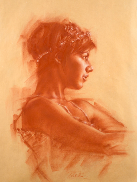 Charles Miani artwork Christin artwork red chalk on paper