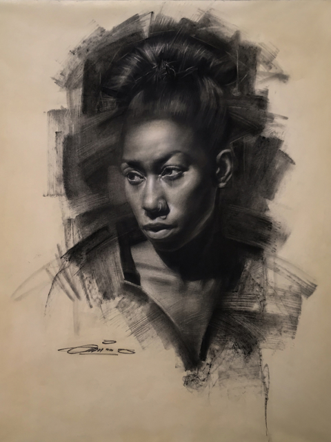 Charles Miano artwork Bianca artwork Charcoal on paper
