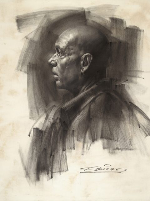 Charles Miano artwork Claudia artwork Charcoal Portrait