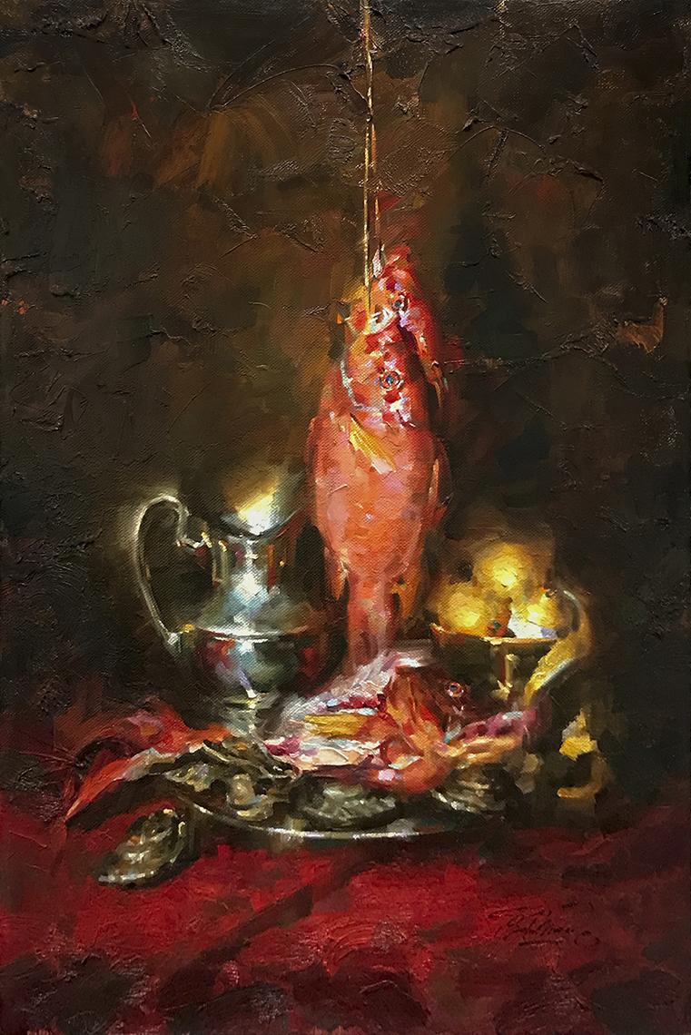 Charles Miano artwork Festa della Ricchezza Feast of Riches oil on canvas