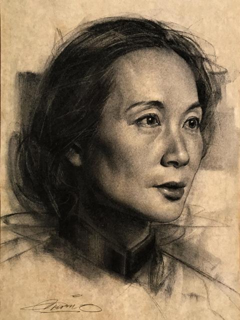 Charles Miano artwork Jian Li artwork Charcoal Portrait