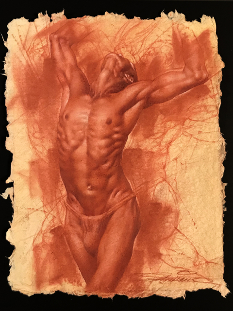 Charles Miano artwork Male Figure artwork Red Chalk on Paper