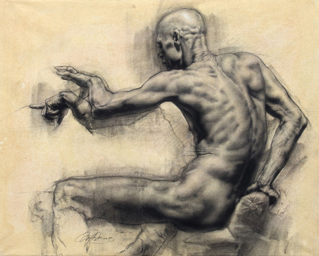 Charles Miano, Man Reaching, charcoal on paper