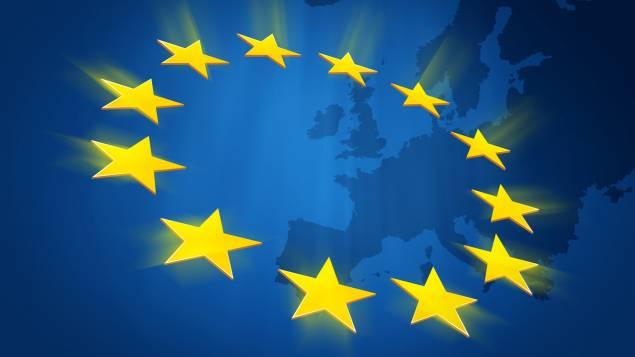 Drapeau européen avec le dessin des Etats