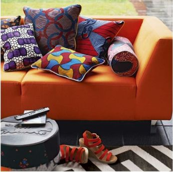 Charles Ray and Coco - blog deco et design - african wax - sofa and pillow