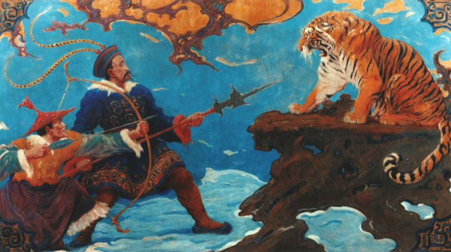 Hunters holding Manchurian Tiger at bay.
