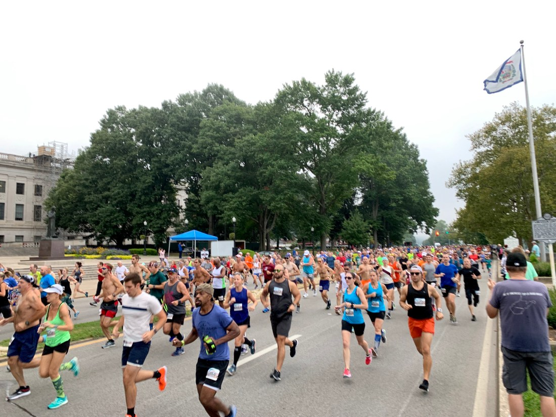 15 mile and 5k racers at the start of the 2019 Charleston Distance Run.