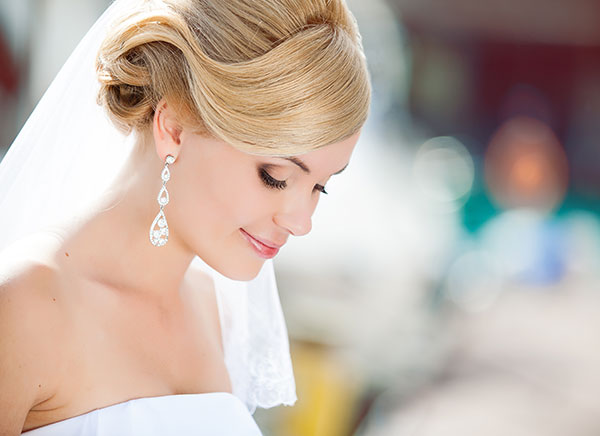 A bride with beautiful hair and make up.