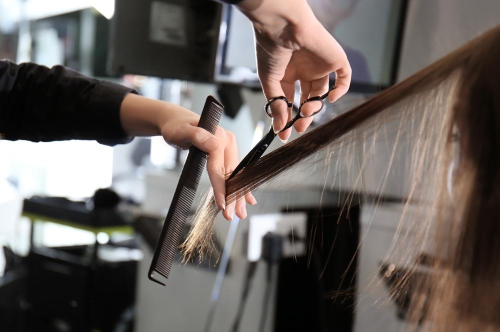 Getting a trim in a salon