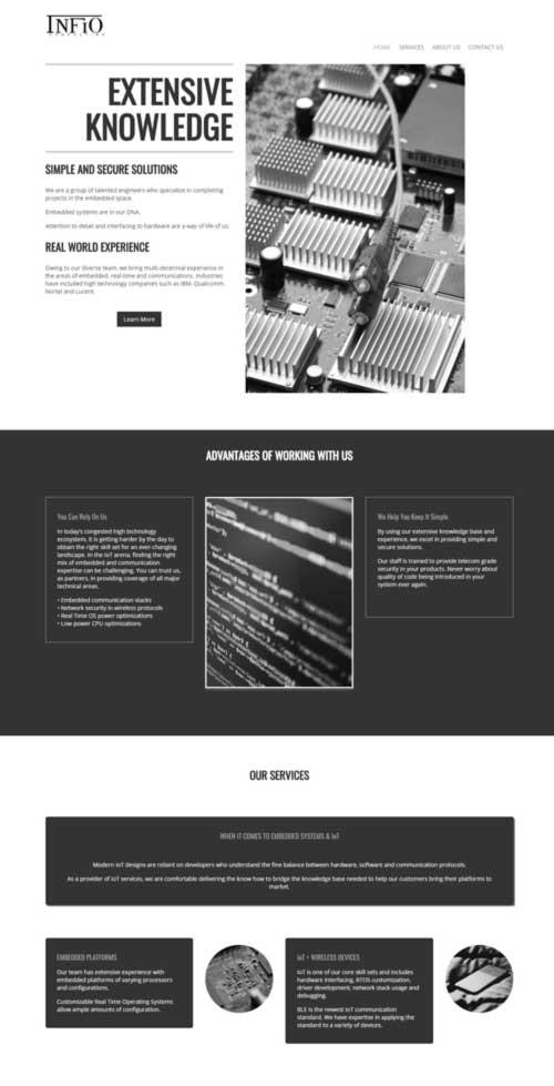 Infio Consulting website design by Charleston PR