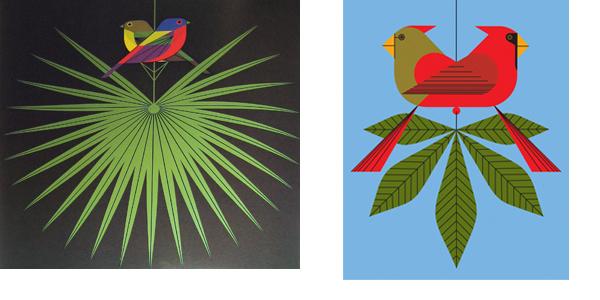 """Flamboyant Feathers"", Serigraph, 1974 Right ""Cardinals Consorting"", Serigraph, 2006"