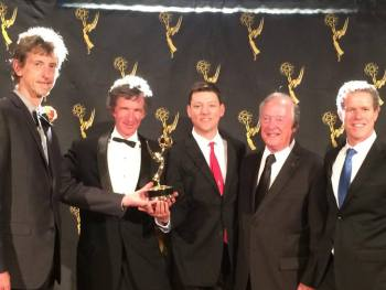 Charlie Canfield, the Filmsight crew, and Bruce Blanning from PECG with the 2014 Northern CA Emmy for Best Animation In A Doc.