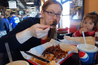 Sandra plowing through the pulled pork