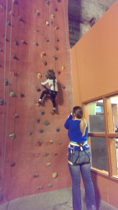 Charlotte and Sandra working a wall.