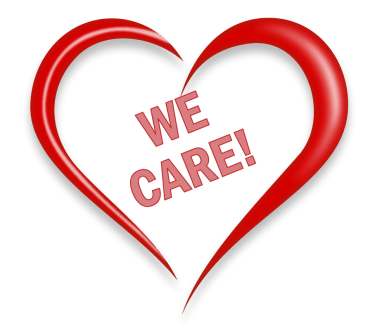 "heart with ""we care"" text"