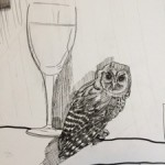 detail of the owl and wine glass at an early stage