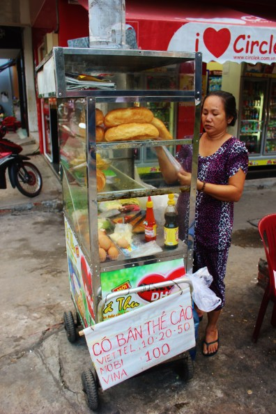 baguette seller Vegetarian Street Food in Vietnam