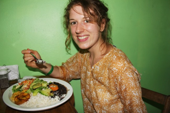 Chaz eats more and more gallo pinto - travel costa rica on a budget