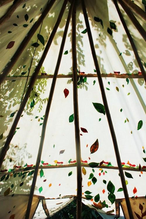 Painted leaf design inside the tipi